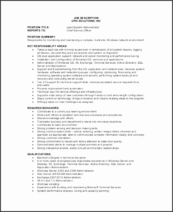 5  administrative job description template