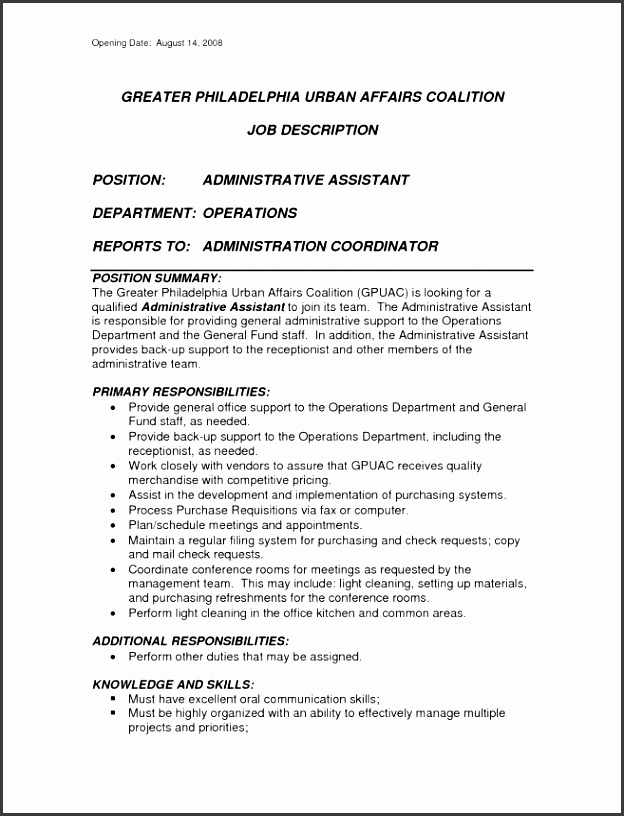 inspiring administrative assistant job description template word pics 6 executive assistant job description sample job duties