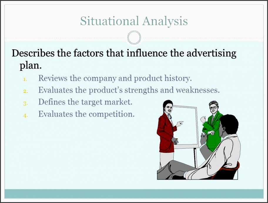 situational analysis describes the factors that influence the advertising plan reviews the pany and product