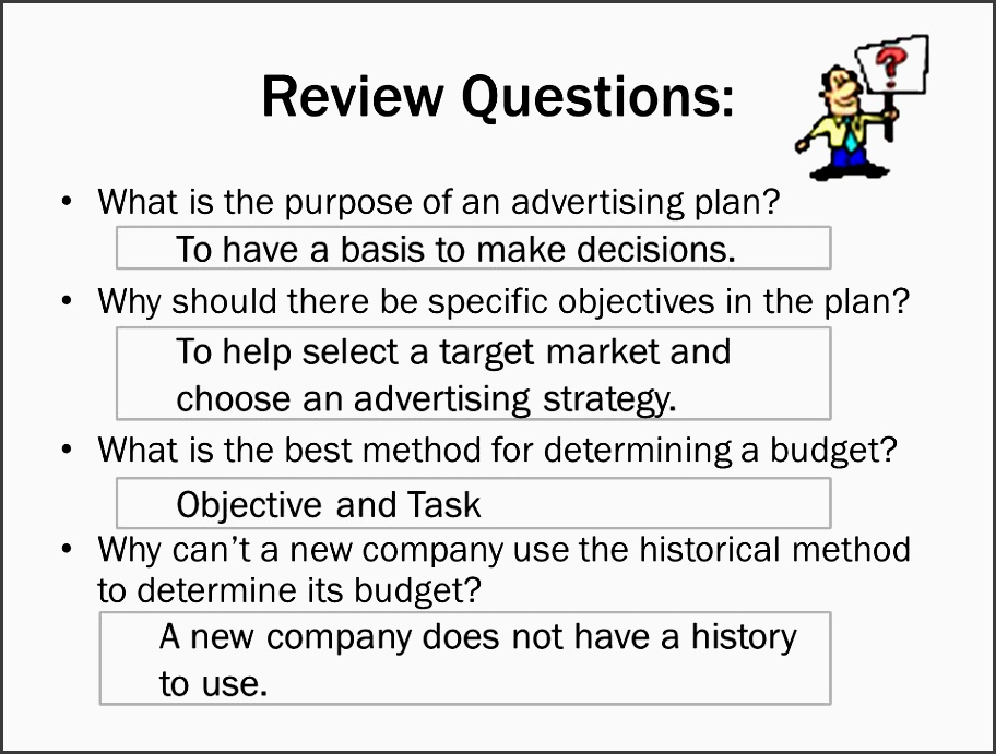 review questions what is the purpose of an advertising plan