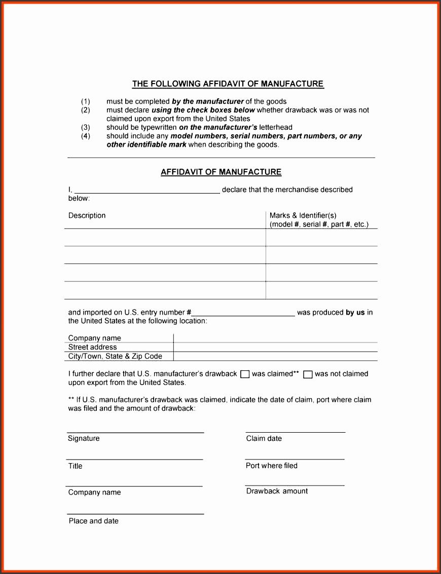affidavit form sample pany profile payroll template free