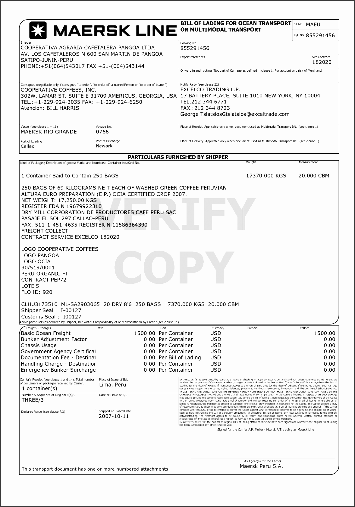 bol template example 9 best images of ocean bill lading form sample lading