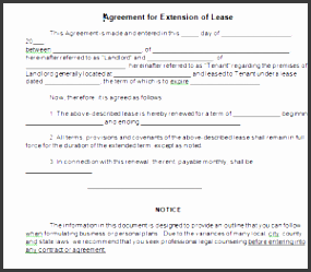 agreement for extension of lease word the sample affidavit form