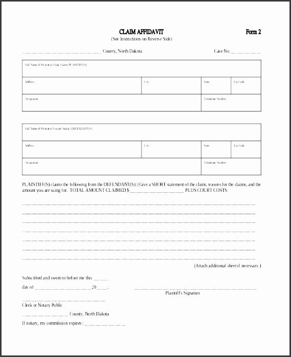 claim affidavit form