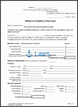 form affidavit of inability to pay costs