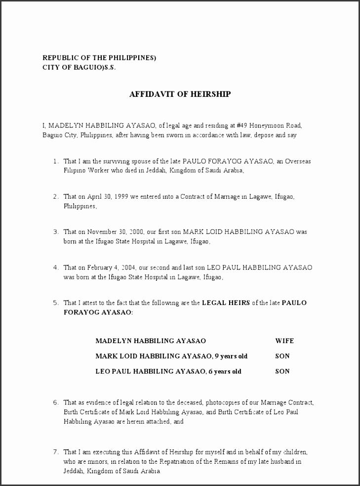 Affidavit Of Heirship  Free Affidavit Form Download