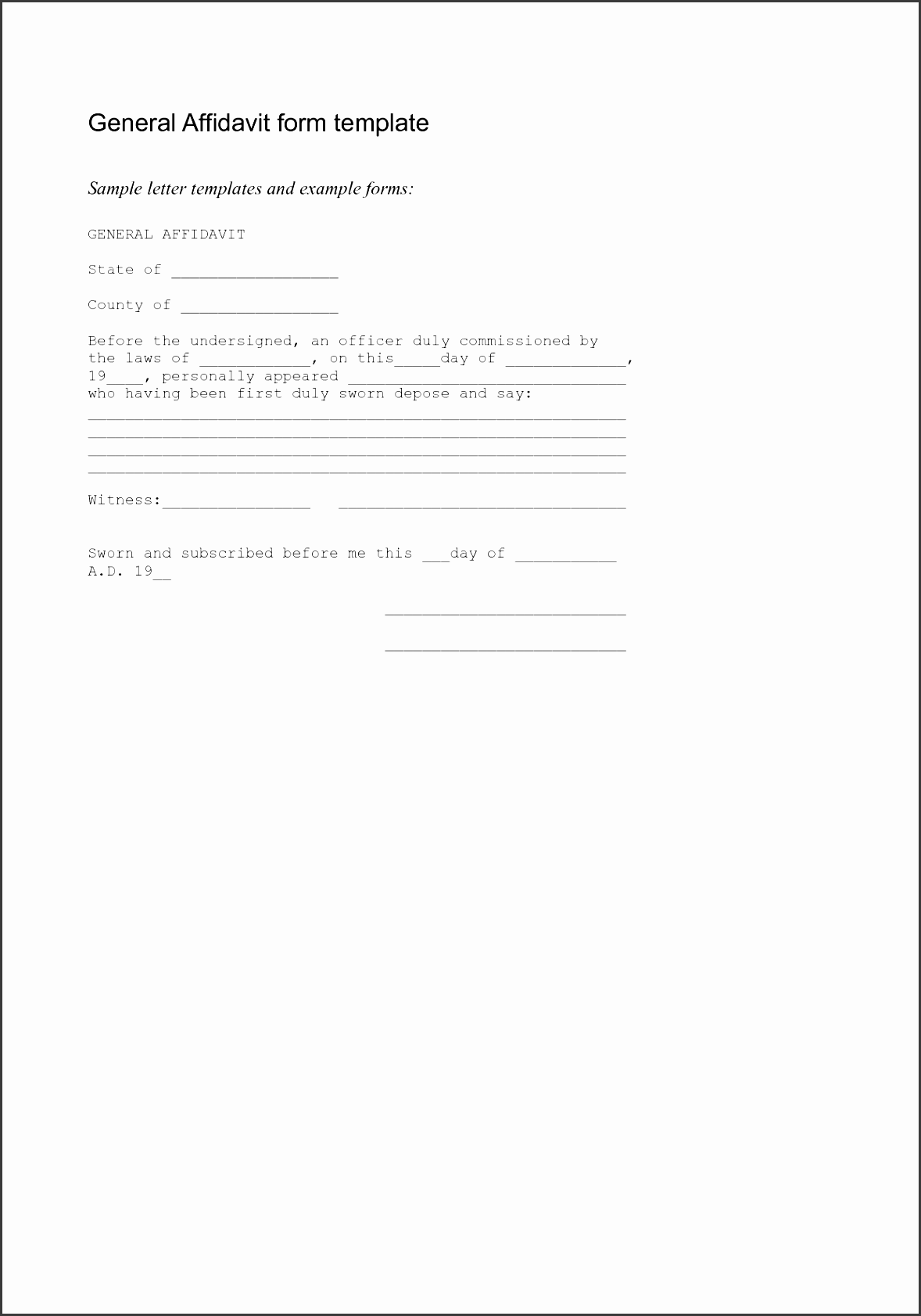 Affidavit Of Facts Template Free Event Ticket Templates For Word General  Affidavit Template Affidavit Of Facts  Affidavit Statement Of Facts