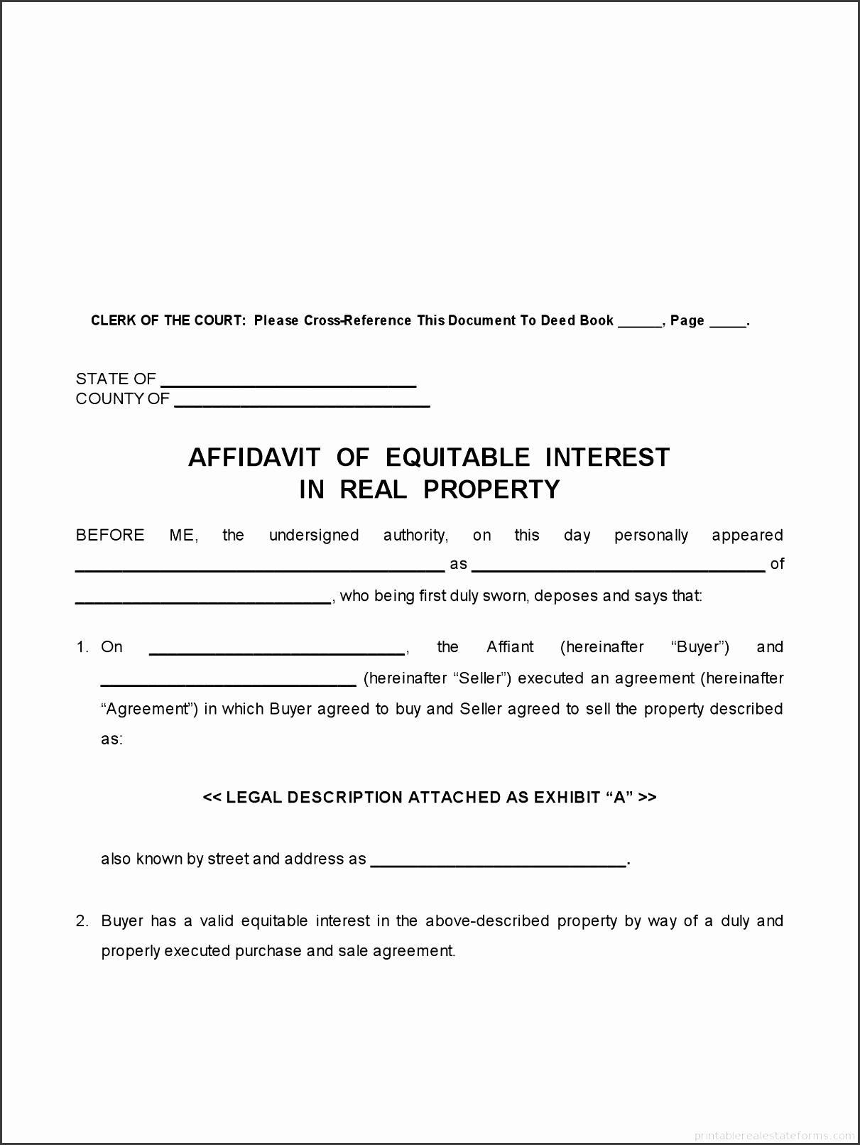 printable sample affidavit of equitable interest form