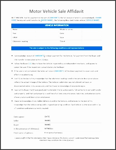 motor vehicle sale affidavit template