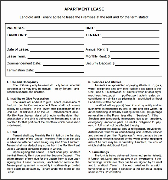 apartment rental agreement template