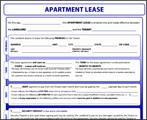 Format Of Apartment Lease Agreement Templates