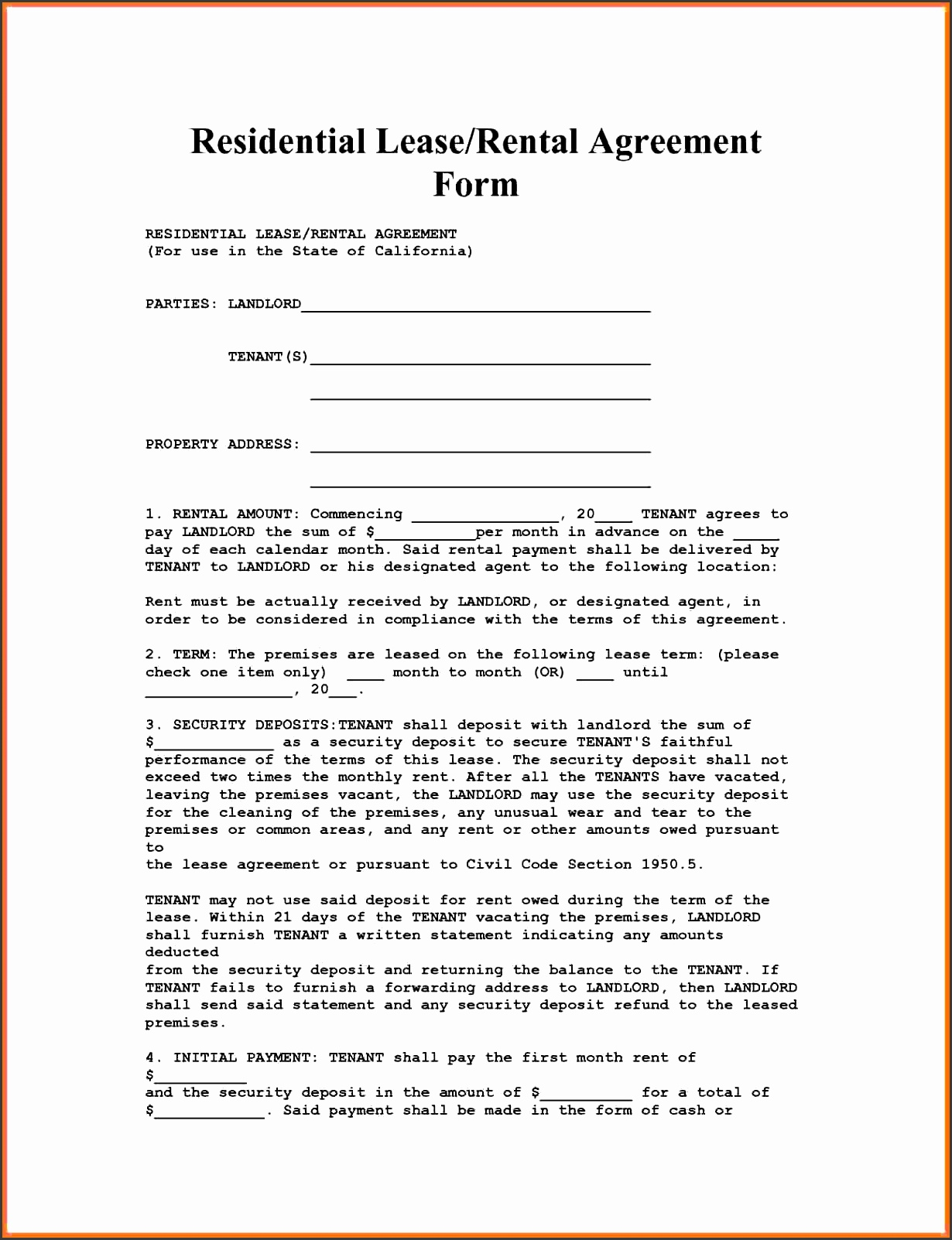 Apartment Rental Agreementlifornia Residential Lease Agreement Forms