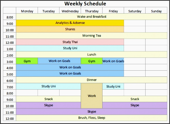 weekly schedule template is used when someone needs to assign and consign his or her precious time to the tasks that he or she has to do at all hazard in