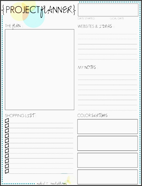 free project planner printable