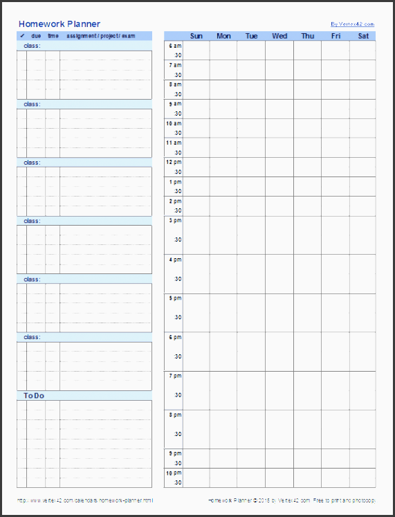 student homework planner template
