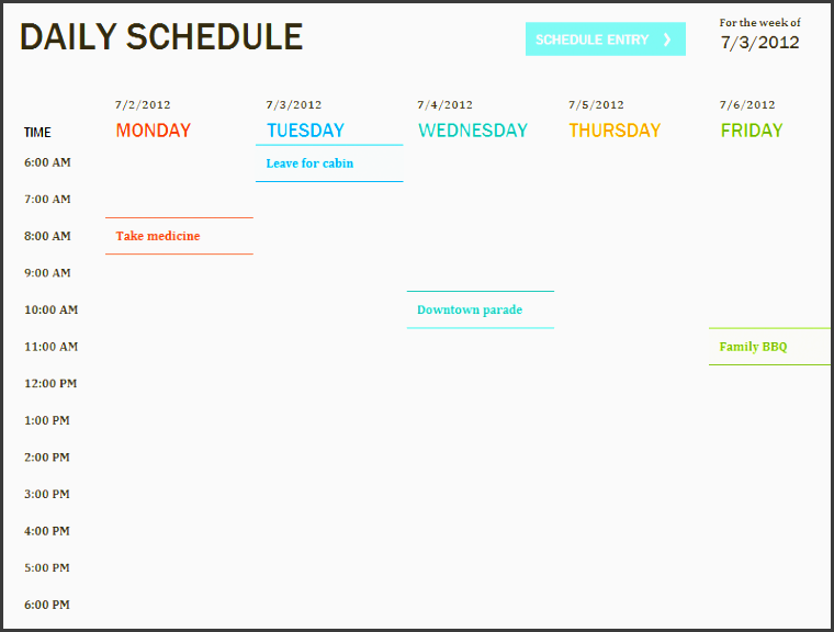 daily schedule template printable daily planner template excel templates