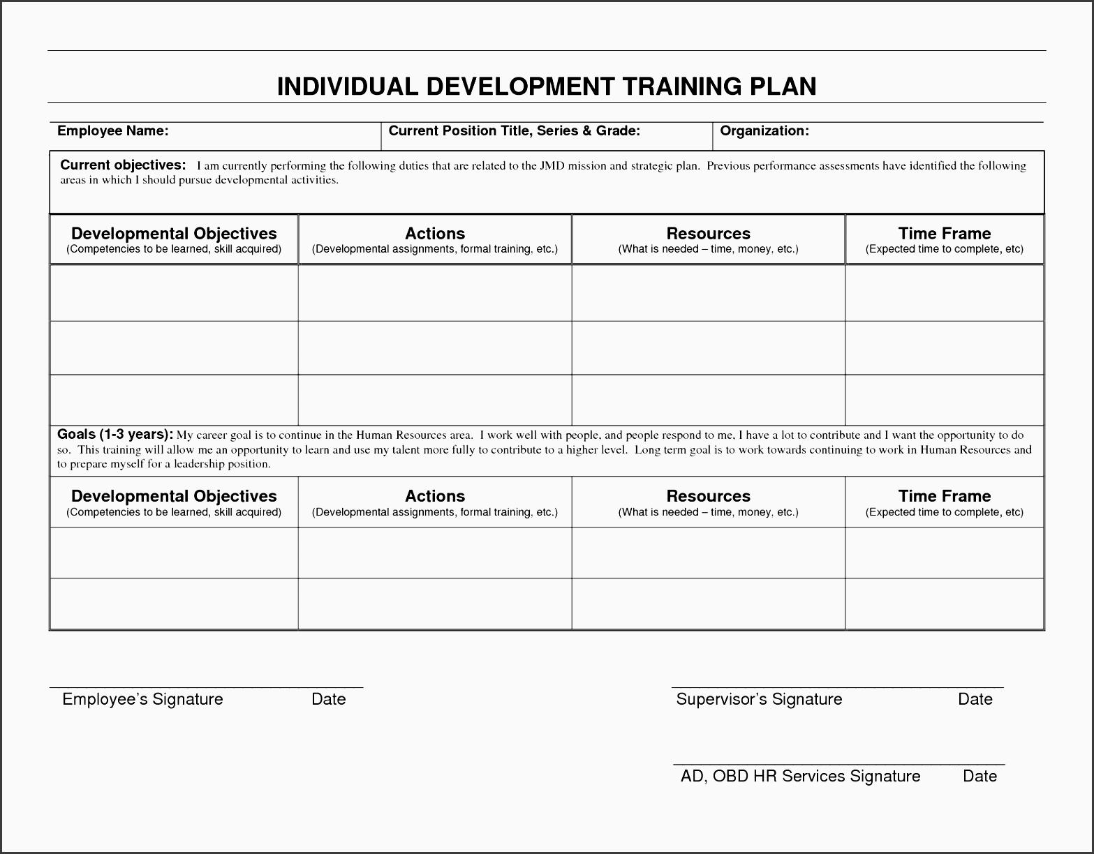 employee personal development plan template employee personal development plan template