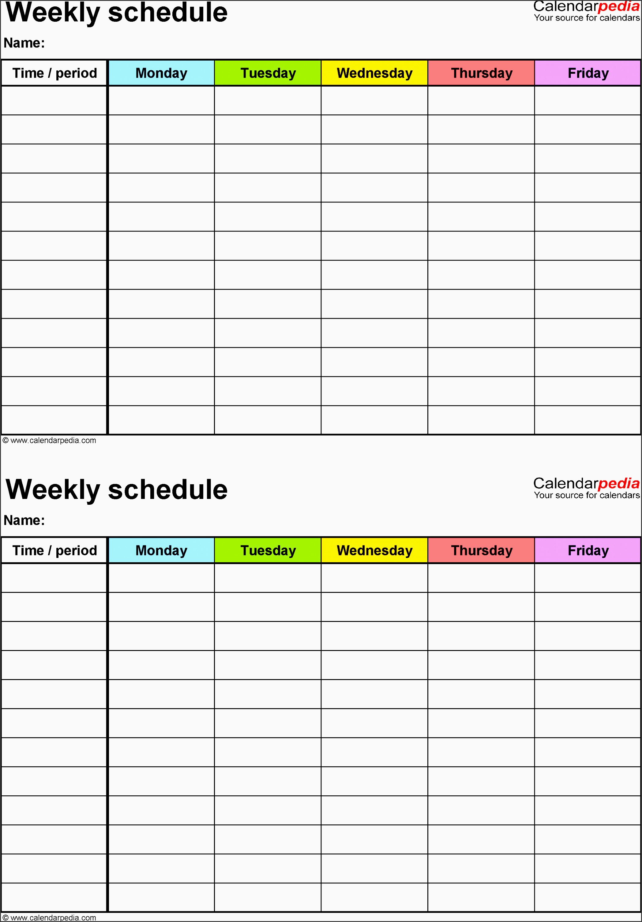 weekly schedule template for excel version 3 2 schedules on one page portrait