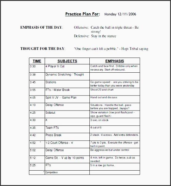 printable basketball schedule practice plan template free