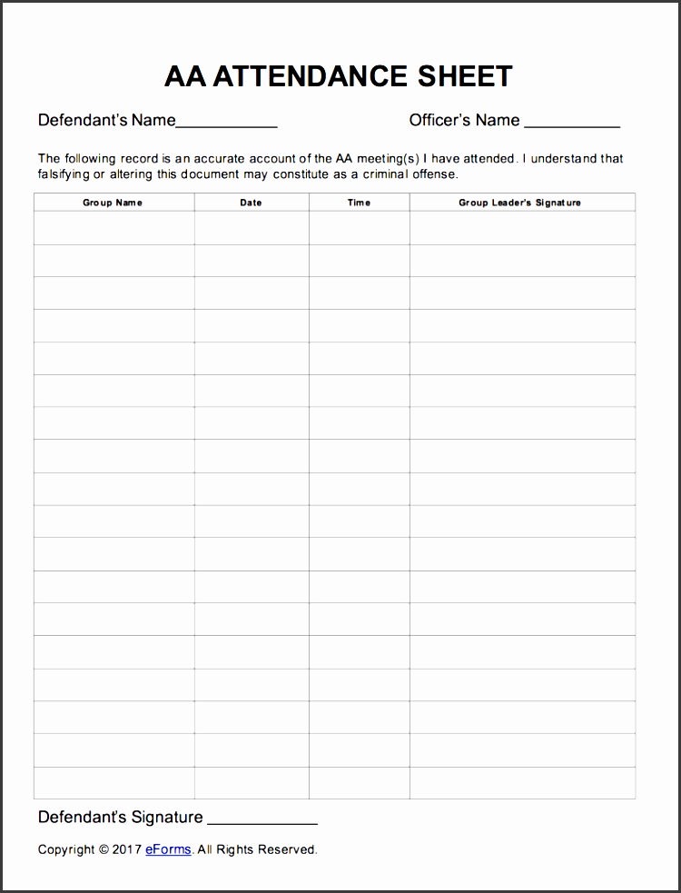 alcoholics anonymous aa sign in attendance sheet template extraordinary aa
