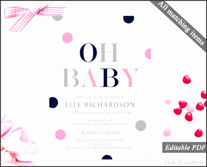 navy pink and grey baby shower invitation printable baby shower invitation template modern elegant baby shower invitation pdf
