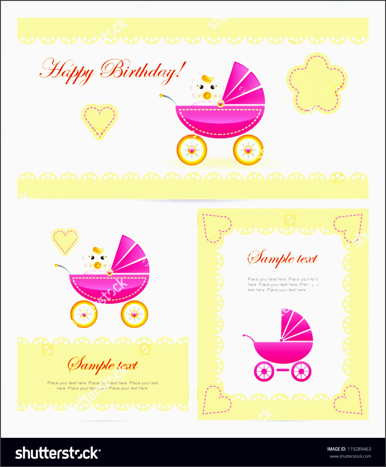 background with vector pram set of baby arrival card baby shower easy