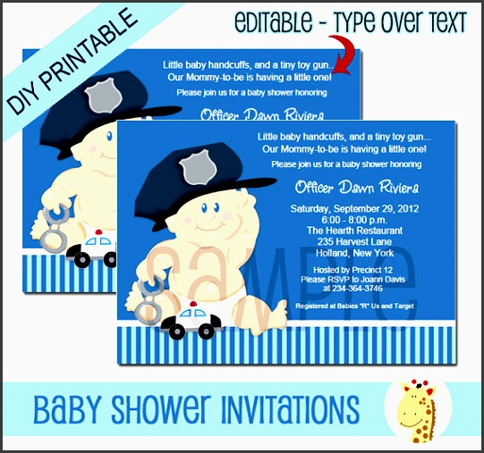 baby cop boy police officer baby shower invitation instant edit text editable invitation pdf file bs 150
