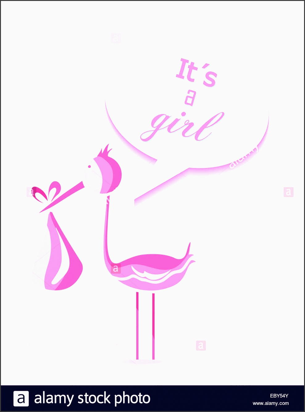 baby shower girl invitation card design with its a girl text and pink stork eps10 vector file organized in layers for easy edit