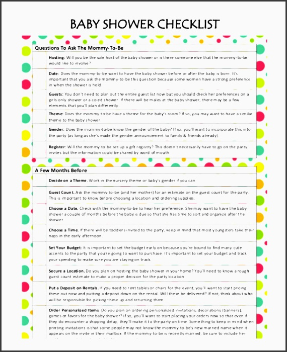 baby shower planner with checklist