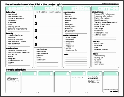 the project girl free printable travel checklist