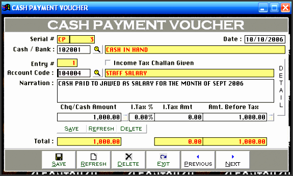 cash payment voucher  bank