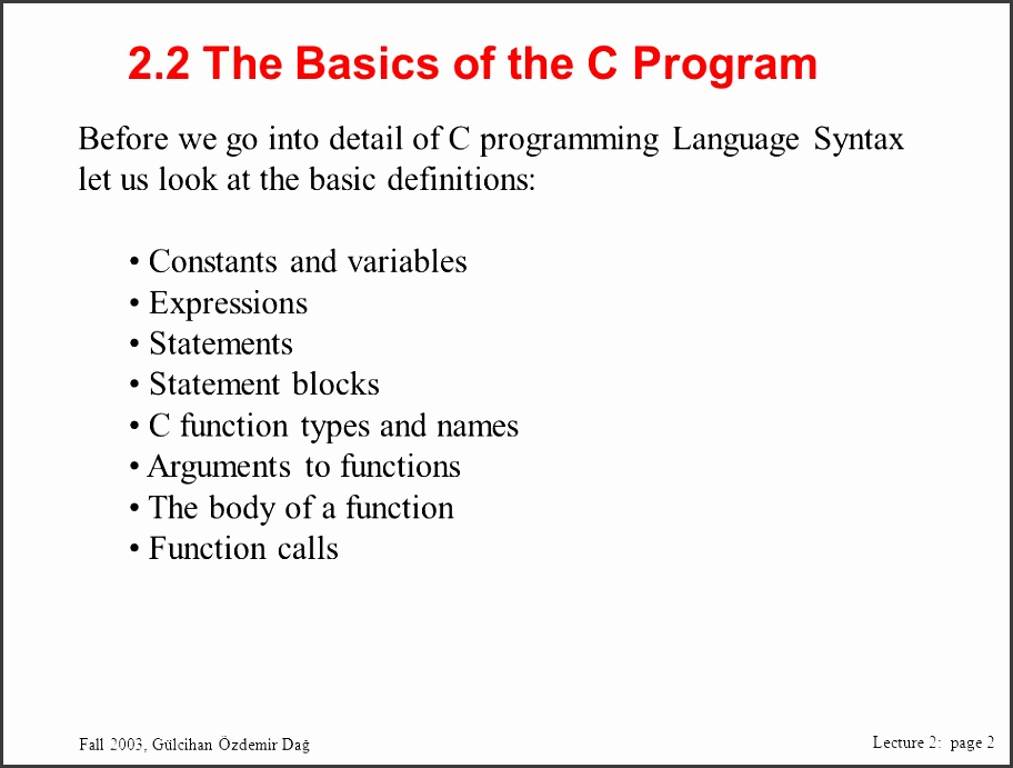 2 2 the basics of the c program