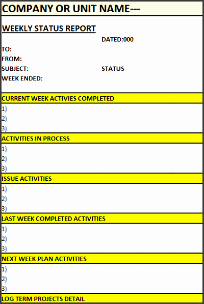 weekly status report fit 422 2c622