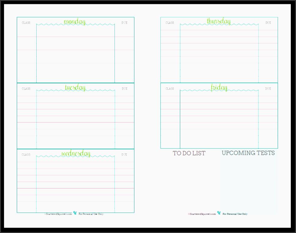 7 Best assignment Planer Template - SampleTemplatess ...