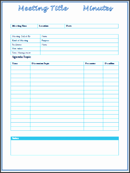 meeting minutes template for word