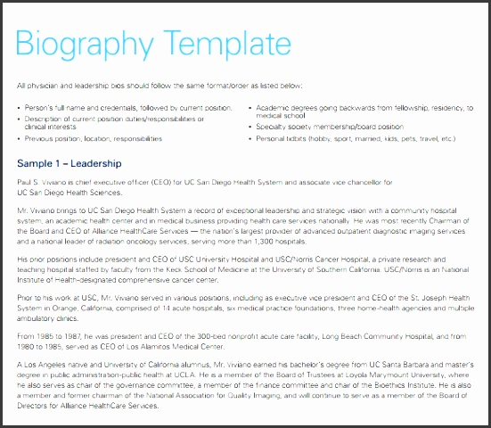 biography word template for free