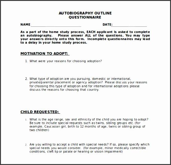 autobiography outline questionnaire template free doc