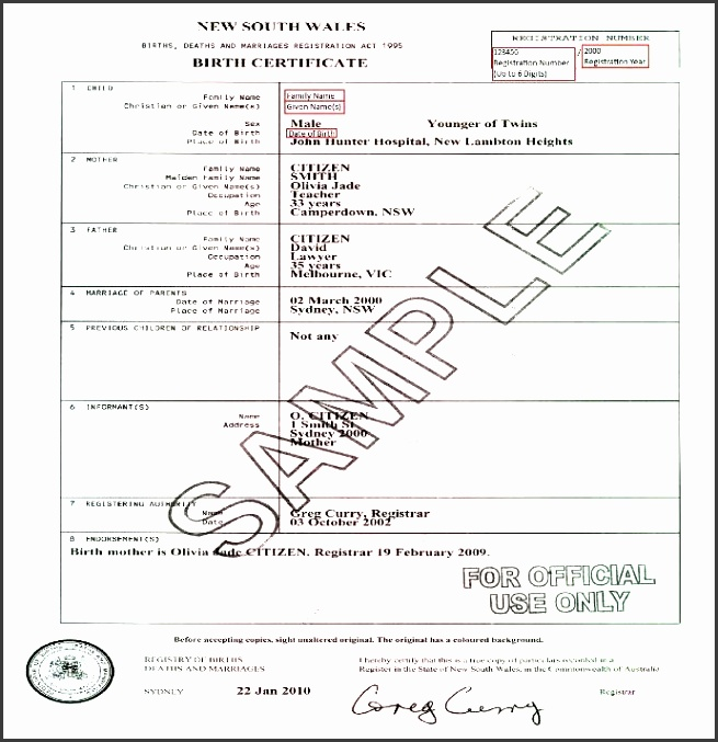 Nsw Birth Certificates Post 1952 Current 8 Birth Certificate Templates Word  ...  Birth Certificate Template Word