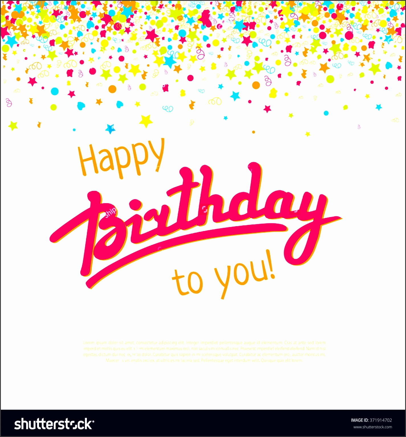 happy birthday greeting card templatector lettering and failing confetti background decoration for carnival