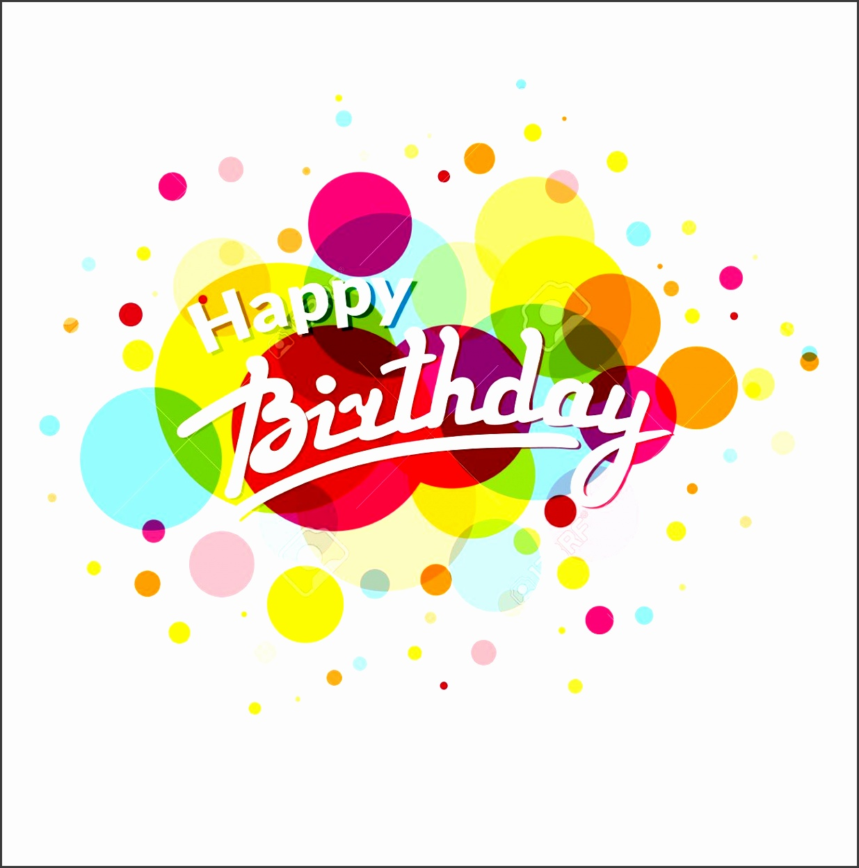 happy birthday greeting card template on background with colorful circles stock vector