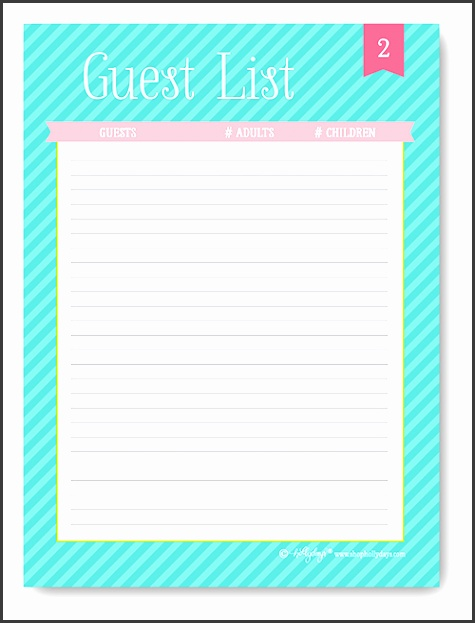 printable party guest list