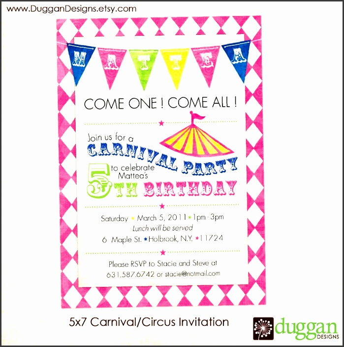 printable circus carnival birthday invitations