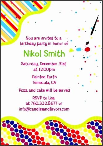 paint party birthday party invitations candles and favors paint party birthday party invitations invitation examples stopboris