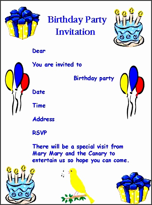 birthday party invitation template word as an inspiration to make enchanting party invitations 13
