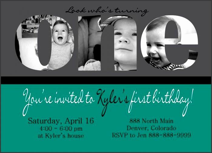 custom photo card collage baby boy first birthday invitation photos on one free baby shower invitations shower invitations and custom photo