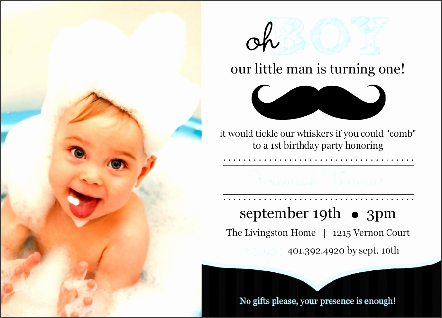 blue and black moustache photo first birthday invitation by purpletrail