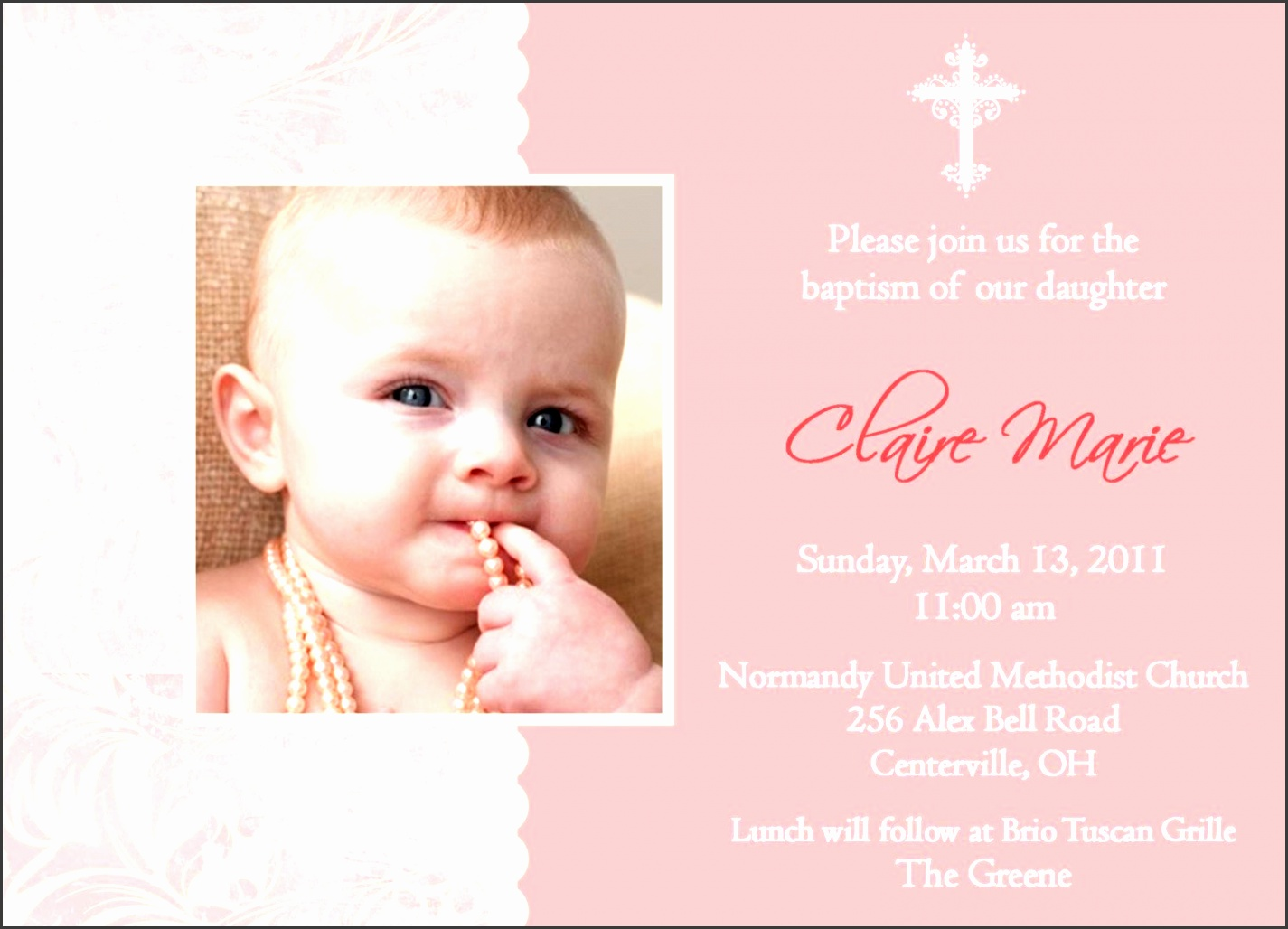 wording sample ideas for baptism invitations