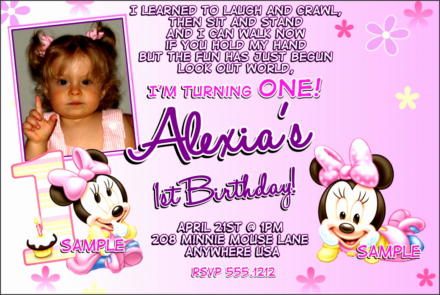 baby first birthday party invitations purple girl minnie mouse