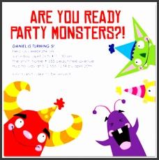 kids party monster printable birthday invitation