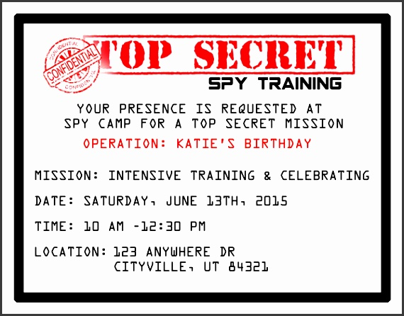 cool printable spy party invitations just fill in the info and you re